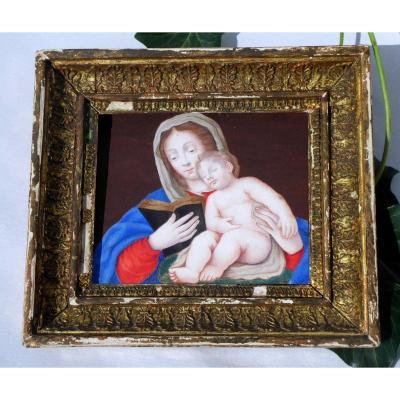 Gouache On Velin Eighteenth Century Virgin And Child Golden Stucco Frame, Religious Painting