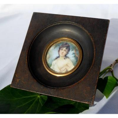 Miniature On Ivory, Portrait Of Naked Young Woman, Nineteenth Century Diane Chasseresse Painting
