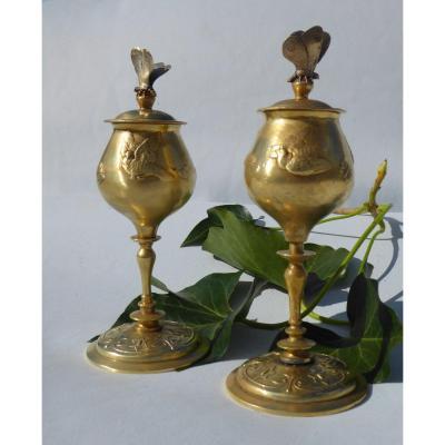Paire De Cassolettes En Bronze Doré Vases Couverts Vers 1880 Art Nouveau Papillon Insecte XIXe