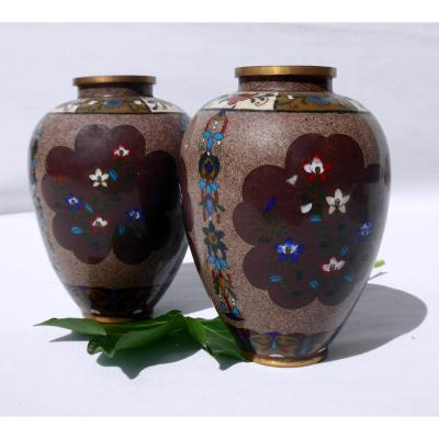 Paire De Vases Japonais Bronze Cloisonné Epoque 1900 , Decor Art Nouveau Asie XIXe Vase Japon