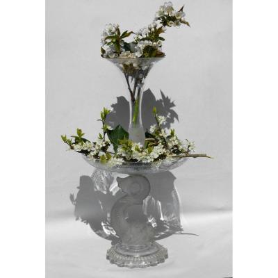 Baccarat Crystal Table Center Tulipiere Vase Au Dauphin, Cup / Cornet Nineteenth Frosted