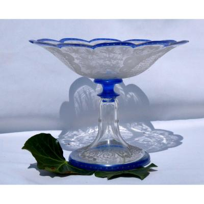 Grande Coupe En Cristal De Bonhême époque Napoléon III , Bleu Décor De Chasse , Cerfs XIXe
