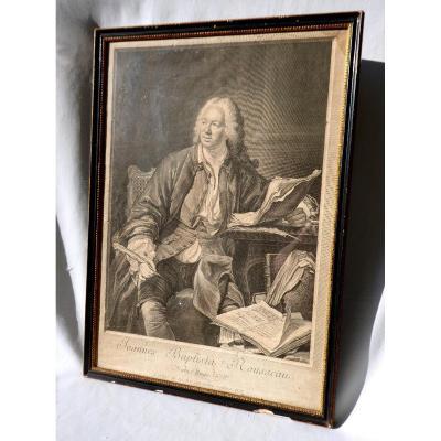 Grande Gravure En Noir , époque XVIIIe Siecle , Portrait De Jean Baptiste Rousseau Encadré