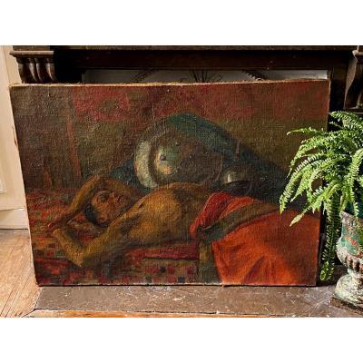 Huile Sur Toile Orientaliste , Repos Du Guerrier , Homme Torse Nu 1930 Art Deco Africain Tableau