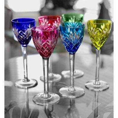 Série De 6 Verres à Vin Du Rhin , Cristal  De Saint Louis Modele Chantilly Roemer Couleur Verre