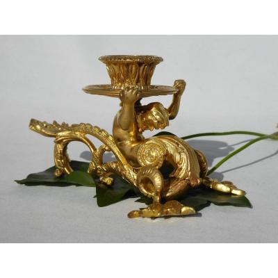 Bougeoir à Main En Bronze Doré , époque Louis Philippe Décor De Triton , Homme Nu XIXe Sirene