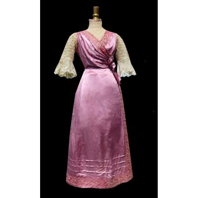 Robe De Jour époque 1910 , Belle époque , Soie Rose , Costume Ancien Mode Dentelle Titanic
