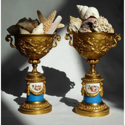 Paire De Cassolettes En Bronze Doré & Porcelaine De Paris , Napoléon III XIXe , Vase Vers 1880