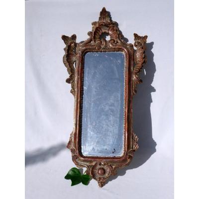 Miroir Au Mercure d'Entre Deux XVIIIe Siecle , Bois Doré , Style Rocaille