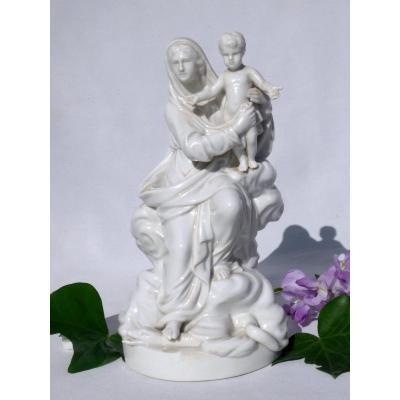 Virgin And Child In German Porcelain, Slaying The Snake , Nineteenth Religious Statue