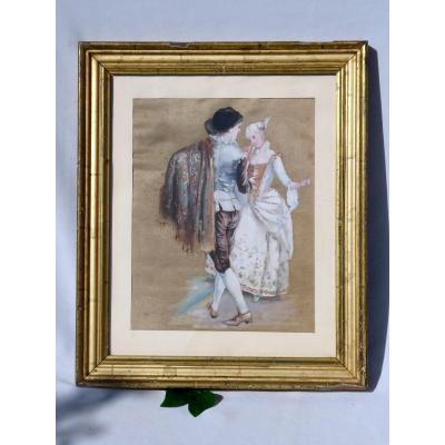 Encadrement XIXe En Bois Doré , Peinture Sur Soie , Scène Galante De Danseurs XVIIIe Danse