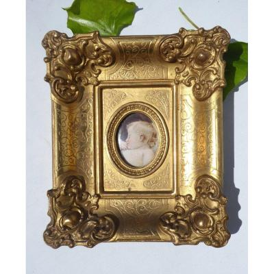 Portrait Of A Sleeping Child Miniature Painted On Ivory Golden Frame Nineteenth, King Of Rome Aiglon