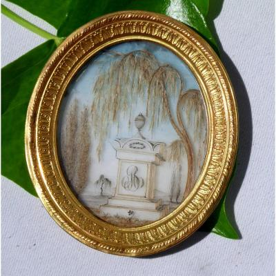 Miniature époque XIXe , Saule Pleureur , Broderie De Cheveux , Souvenir Gothique Napoléon III