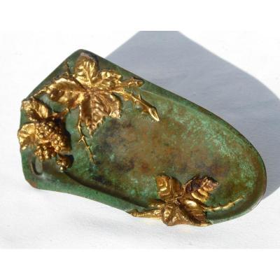 Vide Poche En Bronze A Patine Verte & Or  Signé Cassonnet , Style Art Nouveau 1900 Doré Bureau