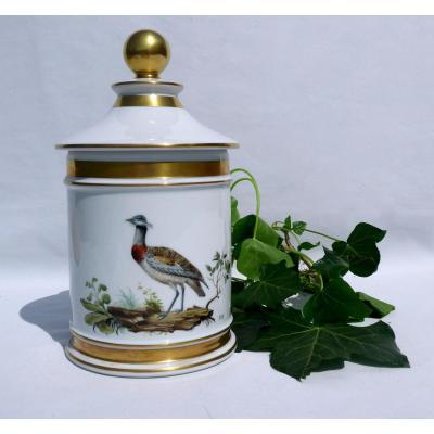 Pot d'Apothicaire Couvert Porcelaine De Limoges Décor d'Outarde Oiseau Peint Style XIXe Buffon