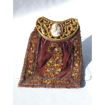 Bourse , Reticule, Sac à Main d'époque 1820 Cachemire, Fermoir Camée Coquillage Empire XIXe