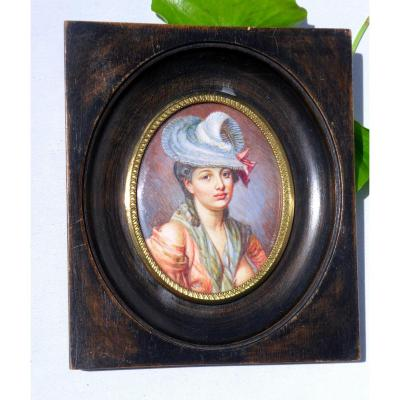 Large Miniature Painting On Ivory Portrait Of Young Woman XIXth Denuded Breast, Curiosa