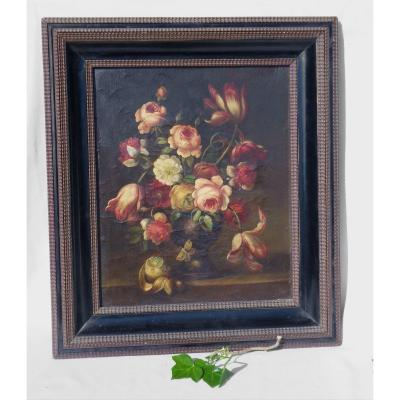 Oil On Canvas, Bouquet Of Flowers Napoleon III Style, Insects & Fruits 1900 Butterfly Nature