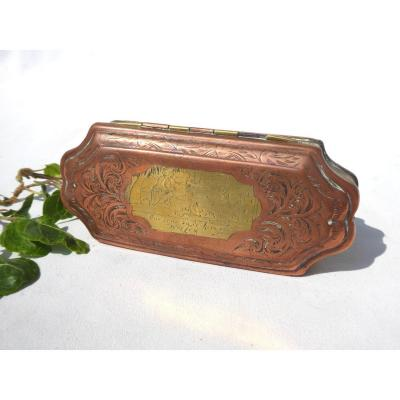 Dutch Tobacco Box In Copper And Engraved Brass, Eighteenth Century, Tobacco Box