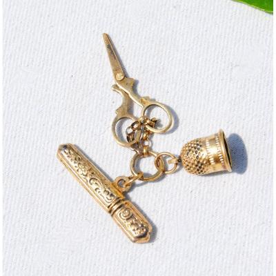 Sewing Kit In Gold Napoleon III Miniature Bru Doll Trousseau Nineteenth Thimble