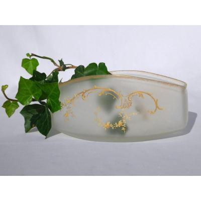 Legras Table Jardiniere In Frosted Glass Nineteenth, Louis XV Art Nouveau Style 1900 Cache Pot