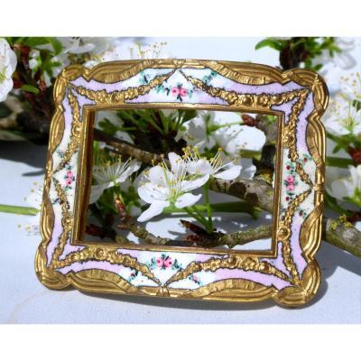 Grande Boucle De Ceinture époque 1900 Style Louis XVI , Décor émaillé De Fleurs Bijou XIXe Mode