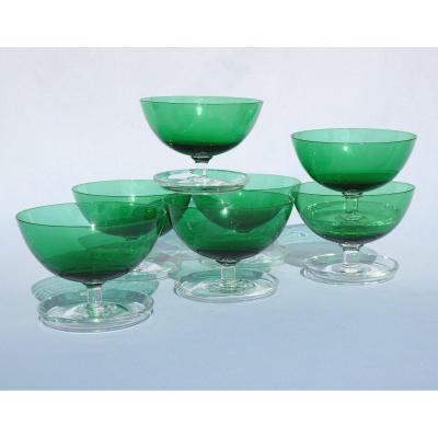 Series Of 7 Fruit / Cherry Ice Cream Cups, Art Deco Crystal, Blue Green, 1900 Glass Bowls