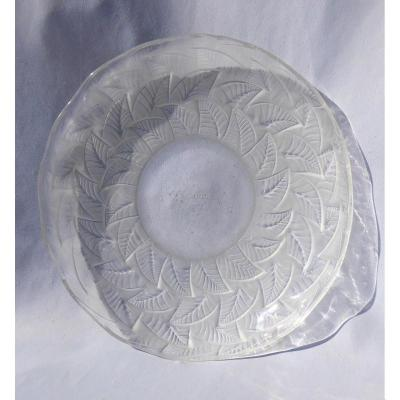 Art Deco Dish Signed Rene Lalique, Ormeaux Model, 1931 Vegetables, Frosted Glass