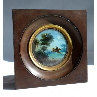 Miniature Painted Fixed Under Glass, Rider And Nineteenth Landscape, Napoleon III Horse