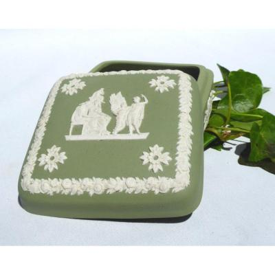 Wedgwood Biscuit Jewelry Box / Box, First Empire Style, Almond Green 1930