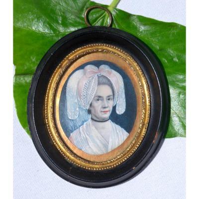 Miniature Painted On Ivory Eighteenth Century Headdress Regionale Normandy, Portrait Of Woman