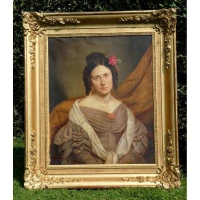 Large Portrait Of Young Woman Period 1830 Romantic Style, César Pattein / Alexis Bafcop Nineteenth