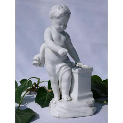 German Porcelain Subject, Child Putto By After Falconnet, The Fire Nineteenth Style Eighteenth