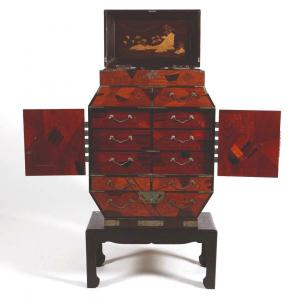 Asian Travel Cabinet Cabinet, Japan Around 1900 Nineteenth, Lacquer And Mother Of Pearl, Japonism