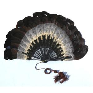 Late 19th Century Ball Fan, Feather Marquetry, 1890 Fashion Vertu Object