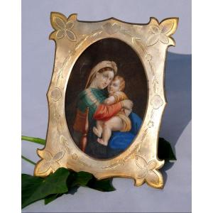 Large Miniature Gouache XIXth Frame Napoleon III Virgin And Child By After Raphael