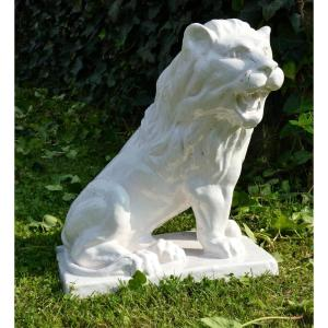 Large Sitting Lion In Enameled Faience Garden Nineteenth Century, Exterior Shape Piece