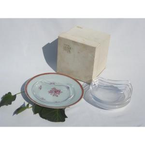 Series Of 6 Salad / Hors d'Oeuvre Plates Lalique France In Box Art Deco Cristal Antibes