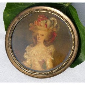 Portrait Miniature Sur Ivoire , époque 1820 Marie Antoinette Reine De France XIXe Wertmüller
