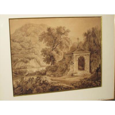 Ancien Dessin Lavis Epoque Restauration Ile De Ste Helene Tombeau Napoleon Ier