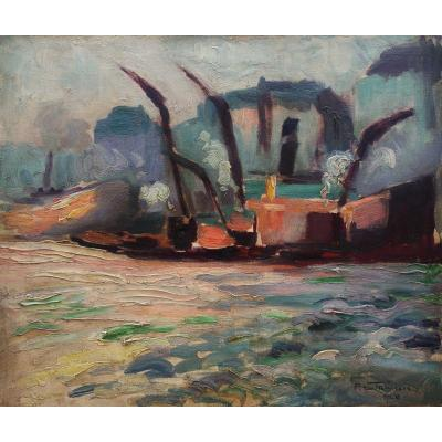 The Harbour By Pierre Le Trividic (1898-1960)