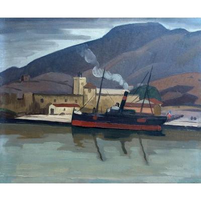 The Boat In Harbour- Gaston Ventrillon Le Jeune (1897-1982)