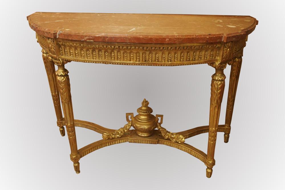 Console d'époque Louis XVI en bois doré sculpté