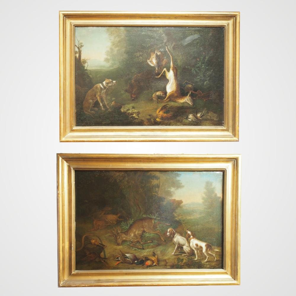 Paire de tableaux de chasse d'époque XVIII ème