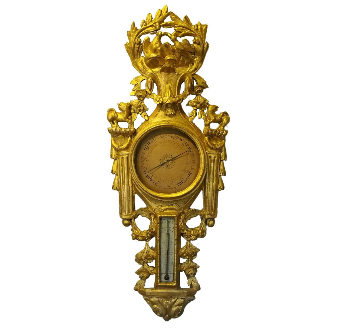 Louis XVI Period Thermometer Barometer In Carved And Gilded Wood