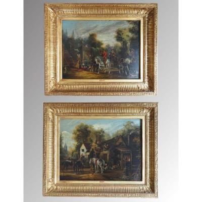 Paire de tableaux sur cuivre d'époque XIXe
