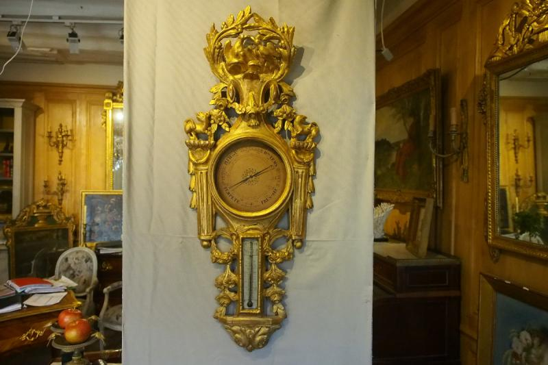 Louis XVI Period Thermometer Barometer In Carved And Gilded Wood-photo-2