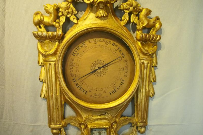 Louis XVI Period Thermometer Barometer In Carved And Gilded Wood-photo-3