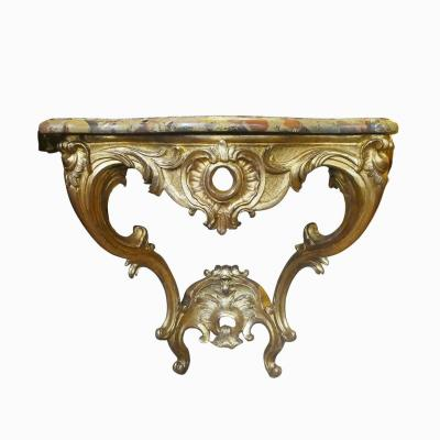 Console d' époque Louis XV en bois sculpté et doré