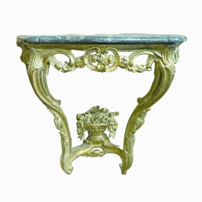 Console en bois sculpté et doré d'époque Louis XV